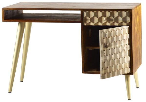Edisa Single Pedestal Desk   Single pedestal desk with shelf, cupboard and drawer with metal legs.